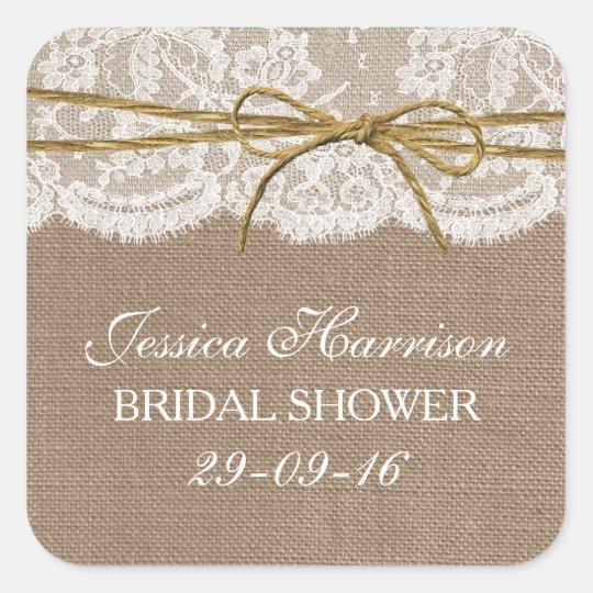 Rustic Burlap, Lace & Twine Bow Bridal Shower