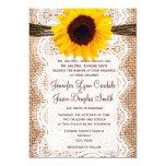 Rustic Burlap Lace Twine Sunflower Wedding Invites 13 Cm X 18 Cm Invitation Card