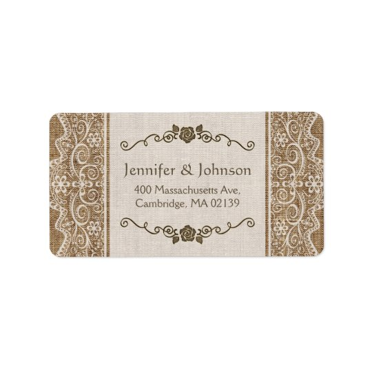Rustic Burlap Lace Wedding Label