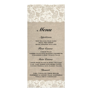 Rustic Burlap & Lace Wedding Menu