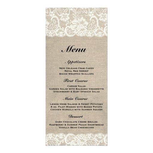 Rustic Burlap & Lace Wedding Menu 2 Rack Cards