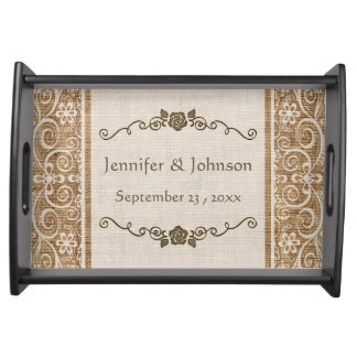 Rustic Burlap Lace Wedding Serving Tray