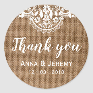 Rustic Burlap Lace Wedding Sticker