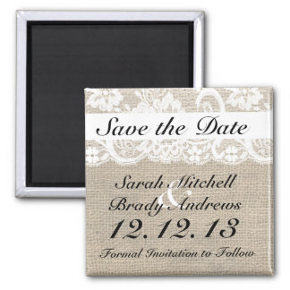 Rustic Burlap Lace White Save the Date Magnet