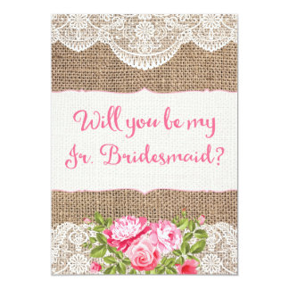 Rustic Burlap Lace Will you be my Jr Bridesmaid Card