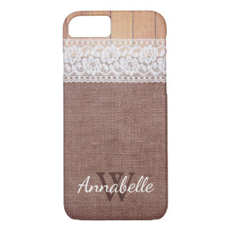 Rustic Burlap Lace & Wood | Monogram iPhone 8/7 Case