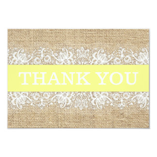 Rustic Burlap Lace Yellow Gender Neutral Thank You Card