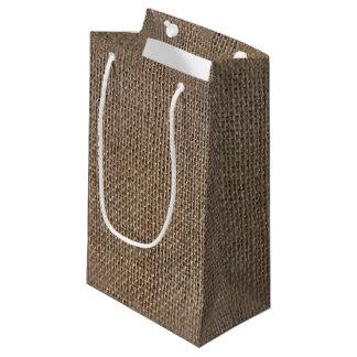 Rustic Burlap-Look Brown Printed Background Small Gift Bag