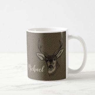 Rustic Burlap Look Deer Head Name | Monogram Coffee Mug