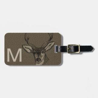 Rustic Burlap Look Deer Head Pattern Bag Tag