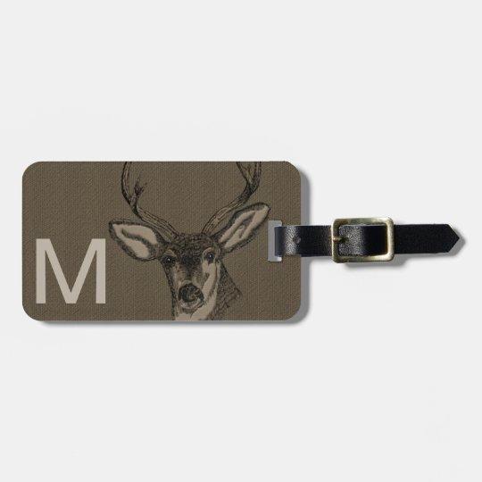 Rustic Burlap Look Deer Head Pattern Luggage Tag