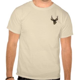 Rustic Burlap Look Deer Head Pattern T Shirt