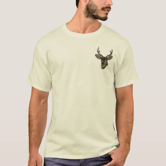 Rustic Burlap Look Deer Head Pattern T-Shirt