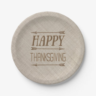 Rustic Burlap Look Typography Thanksgiving Plate 7 Inch Paper Plate