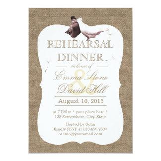 Rustic Burlap Love Birds Rehearsal Dinner Card