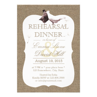 Rustic Burlap Love Birds Rehearsal Dinner Invitation