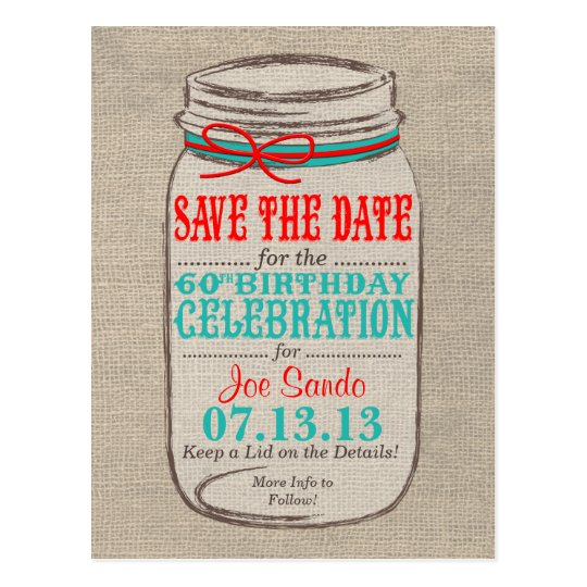 Rustic Burlap & Mason Jar 60 Birthday Invite