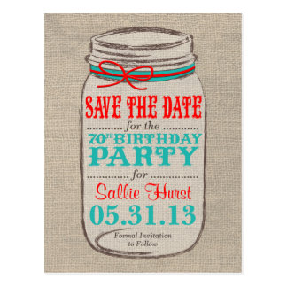 Rustic Burlap & Mason Jar 70th Birthday Invite Postcard