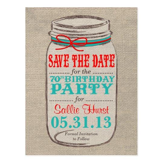 Rustic Burlap & Mason Jar 70th Birthday Invite