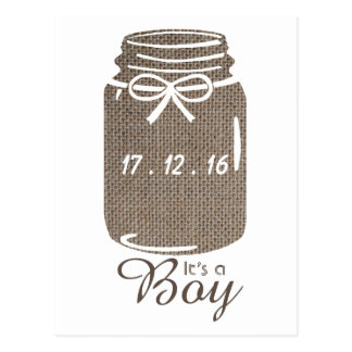 Rustic Burlap Mason Jar Baby Boy Announcement Postcard