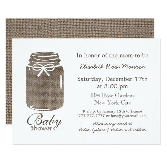 Rustic Burlap Mason Jar Baby Shower Card