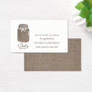 Rustic Burlap Mason Jar Baby Shower Gift Registry Business Card