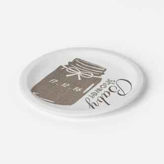 Rustic Burlap Mason Jar Baby Shower Paper Plate