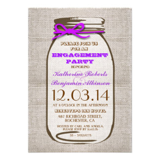 Rustic Burlap Mason Jar Engagement Party Custom Announcement