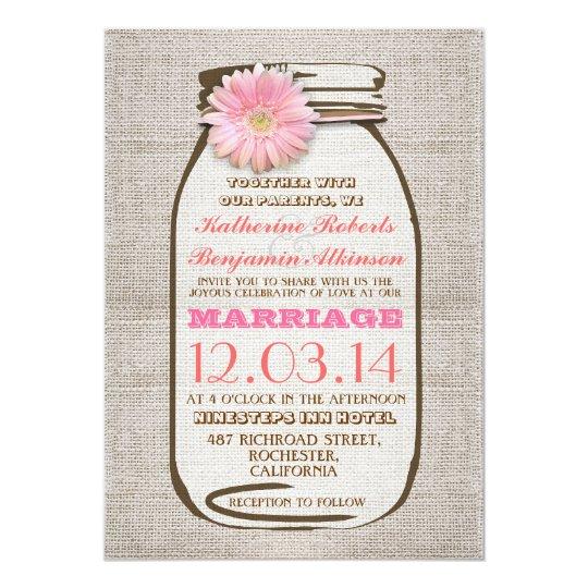 Rustic burlap mason jar pink gerbera wedding card