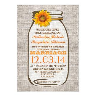 Rustic Burlap Mason Jar Sunflower Wedding Invites