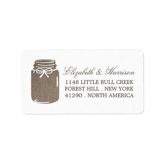 Rustic Burlap Mason Jar Wedding Address Label