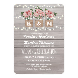 Rustic Burlap Mason Jar Wedding | Roses Card