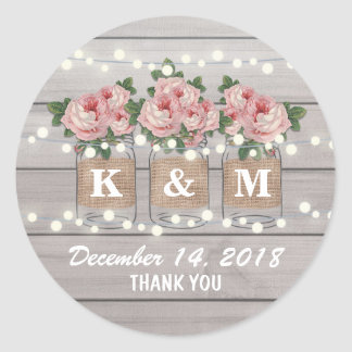 Rustic Burlap Mason Jar Wedding | Roses Monogram Classic Round Sticker
