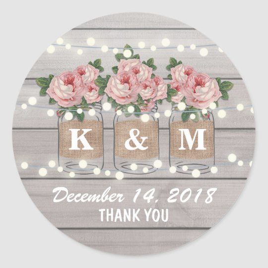 Rustic Burlap Mason Jar Wedding | Roses Monogram