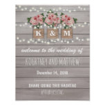 Rustic Burlap Mason Jar Wedding | Roses Welcome Poster