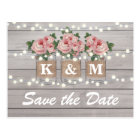 Rustic Burlap Mason Jar Wedding Save The Date Postcard