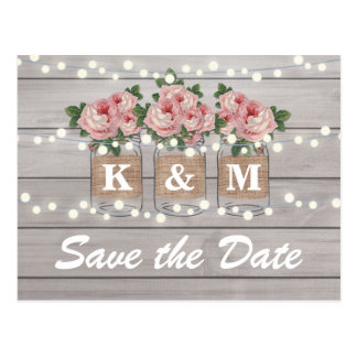 Rustic Burlap Mason Jar Wedding Save The Date Postcard