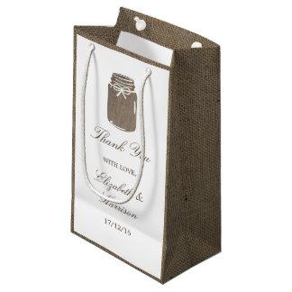 Rustic Burlap Mason Jar Wedding Small Gift Bag