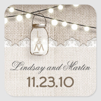 rustic burlap mason jar wedding stickers