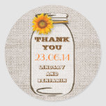 Rustic Burlap Mason Jar Wedding Sunflower Stickers
