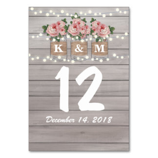 Rustic Burlap Mason Jar Wedding Table Numbers