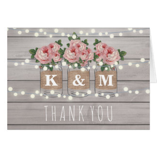Rustic Burlap Mason Jar Wedding Thank You Note Card