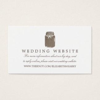 Rustic Burlap Mason Jar Wedding Website Business Card