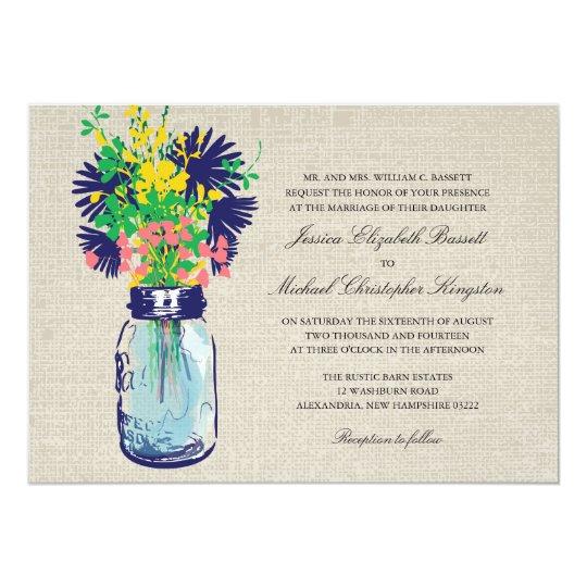 Rustic Burlap Mason Jar Wildflowers Wedding Card