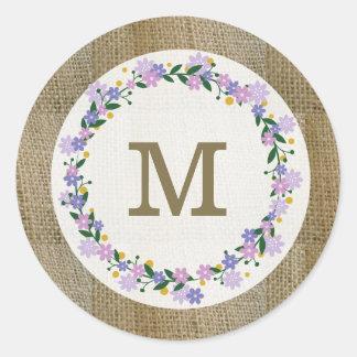Rustic Burlap Monogram Seal Purple Floral Wreath Round Sticker