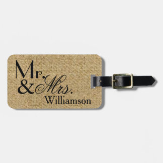 Rustic Burlap Mr and Mrs Travel Luggage Tag