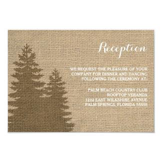 Rustic Burlap Pine Trees Winter Reception Card 9 Cm X 13 Cm Invitation Card