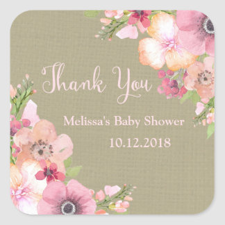 Rustic Burlap Pink Floral Baby Shower Thank You Square Sticker