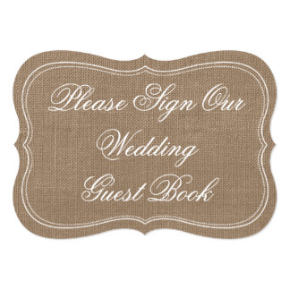 """Rustic Burlap """"Please Sign Our Wedding Guest Book"""" 5x7 Paper Invitation Card"""