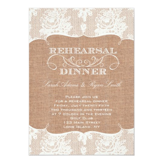 Rustic Burlap Print & Lace Rehearsal Dinner Card